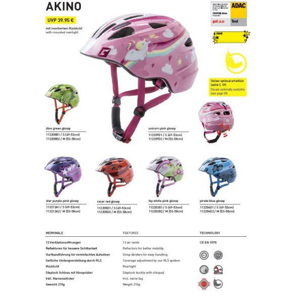 CRATONI Akino racer-red glossy gyermek bukósisak beépített világítással